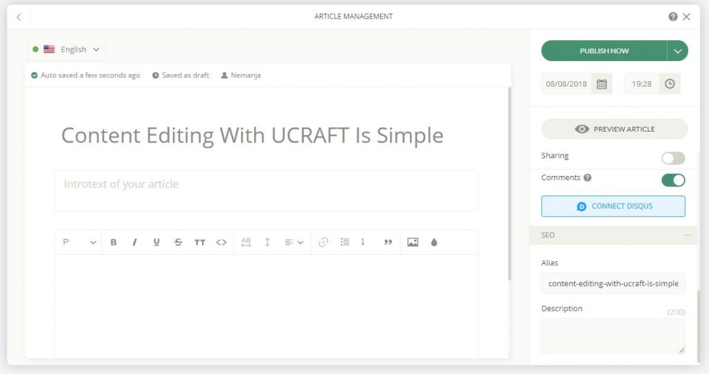Ucraft Review - Content Editing