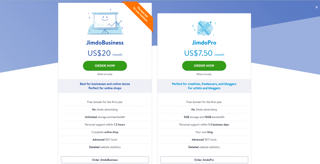 Jimdo Review - pricing